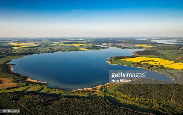 aerial view, fleesensee lake, near malchow, mecklenburg lake district, mecklenburg-western pomerania, germany - fleesensee stock-fotos und bilder
