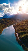 Aerial view flying above a lake in central Italy