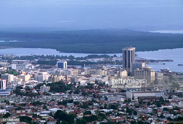 aerial view - fort george - port of spain - port of spain stock pictures, royalty-free photos & images