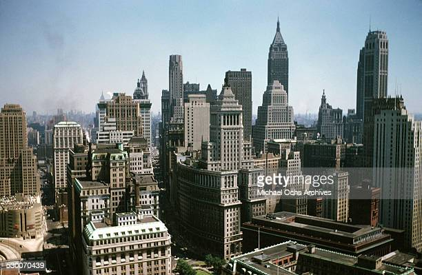A aerial view from a helicopter of the buildings in New York New York