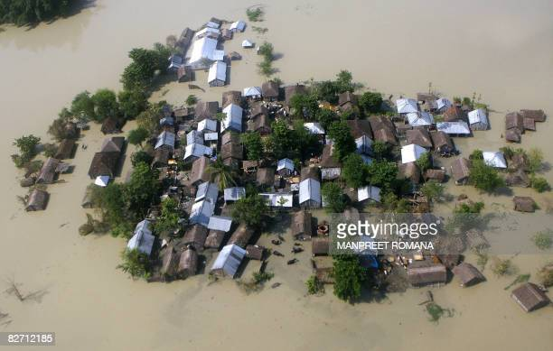 Aerial view from a relief helicopter of the Indian Air Force shows the floodaffected Madhepura district in India's northeastern state of Bihar on...