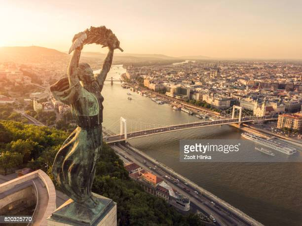 aerial view from budapest - budapest stock pictures, royalty-free photos & images