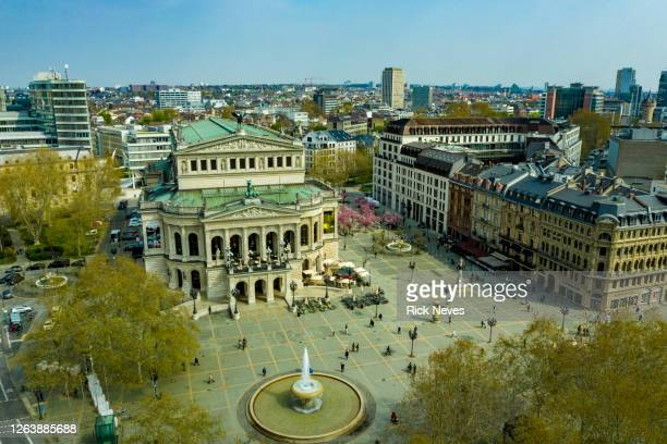 aerial view from frankfurt opera house - kunst, kultur und unterhaltung stock-fotos und bilder