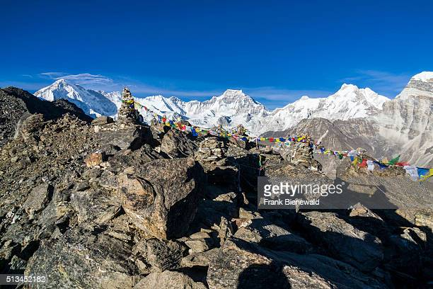 Aerial view from Gokyo Ri snow covered mountains in the distance