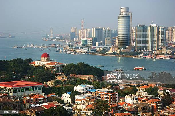 aerial view from gulang-yu island in xiamen, china - xiamen stock photos and pictures