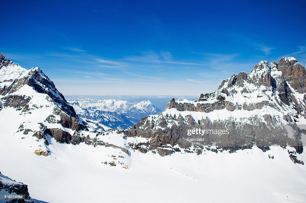 Aerial view from helicopter above glacier in Swiss Alps : Stock-Foto