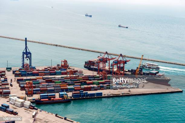 aerial view from helicopter of tanker ship at port in haydarpasa district, istanbul, turkey - haydarpasa stock photos and pictures