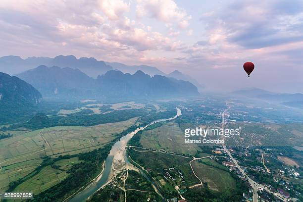 Aerial view from hot air balloon ride, Laos