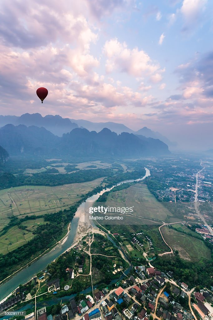 Aerial view from hot air balloon ride, Laos : Stock Photo