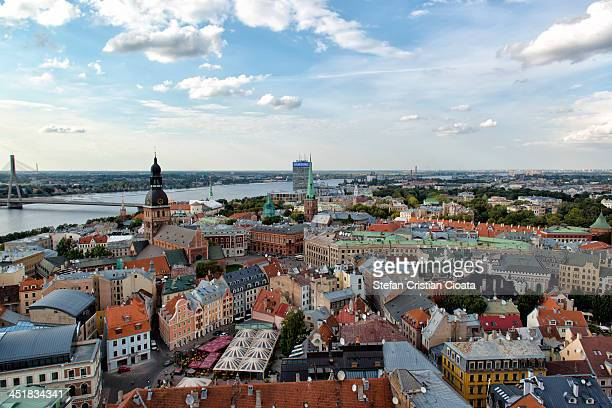 Aerial view from St. Peter's Church in Riga Old Town. Riga is the capital and largest city of Latvia. The city will be the European Capital of...