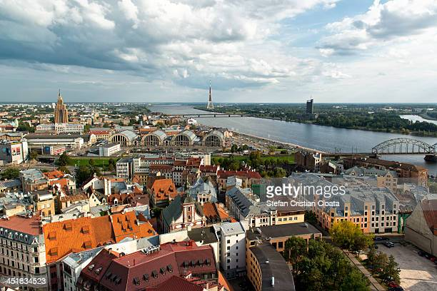 CONTENT] Aerial view from St Peter's Church in Riga Old Town The wide cityscape shows in the background th Radio and TV Tower and Daugava river Riga...
