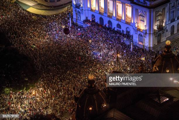 TOPSHOT Aerial view from the demonstration against the murder of Brazilian councilwoman and activist Marielle Franco in front of Rio's Municipal...