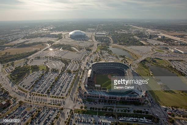 Aerial view from the DirecTV Blimp of Rangers Ballpark with Cowboys Stadium in the background from the prior to Game Five of the 2010 MLB World...