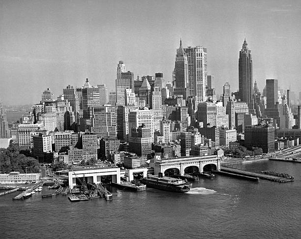 Aerial view from the East River looking northwest of...