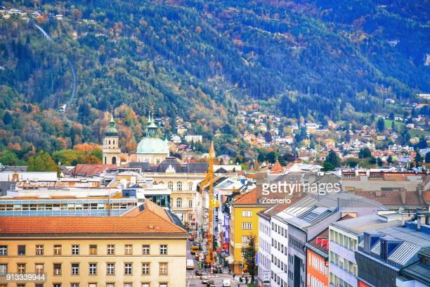 Aerial view from the roof of Hotel in the city of Innsbruck, Austria