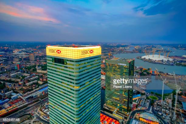 Aerial view from the top of Canary Wharf on HSBC Bank Tower at twilight.