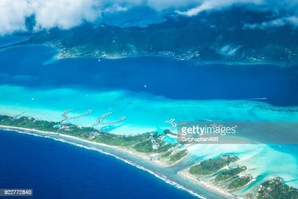 aerial view from top of Bora bora at sunny daytime