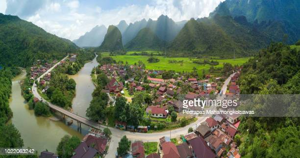 aerial view from vang vieng laos - laos stock pictures, royalty-free photos & images