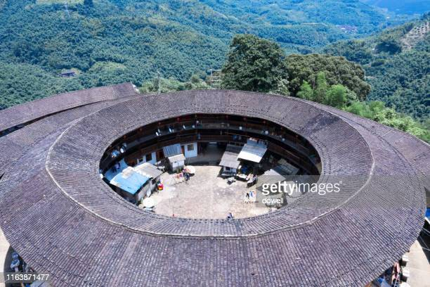 aerial view fujian tulou - fujian tulou stock pictures, royalty-free photos & images