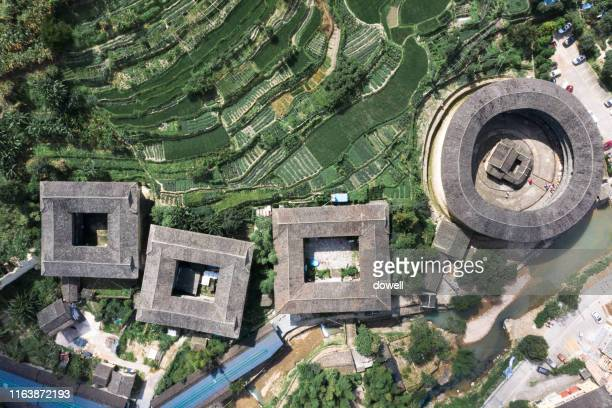 aerial view fujian tulou - fujian stock photos and pictures