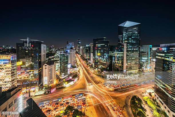 aerial view gangnam at night seoul korea - seoul stock pictures, royalty-free photos & images
