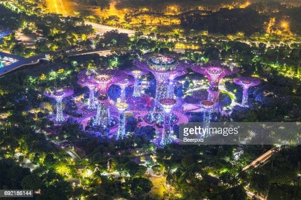 aerial view gardens by the bay from sand sky park, singapore. - singapore botanic gardens stock photos and pictures