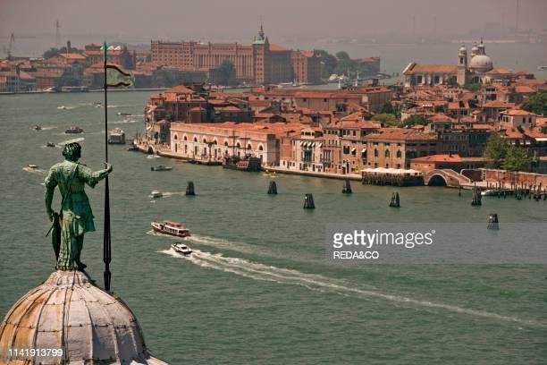 Aerial view. Giudecca Canal seen from the San Giorgio tower. San Giorgio Maggiore island. Venice. Veneto. Italy. Europe.
