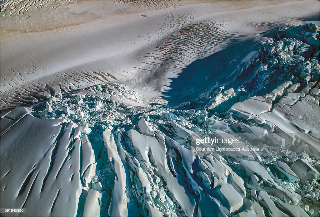 Aerial view, Glaciers, Mount Cook National Park, South Island of New Zealand. : Stock Photo
