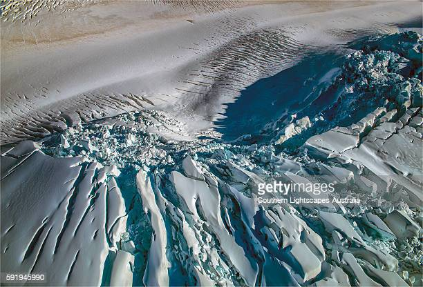 Aerial view, Glaciers, Mount Cook National Park, South Island of New Zealand.