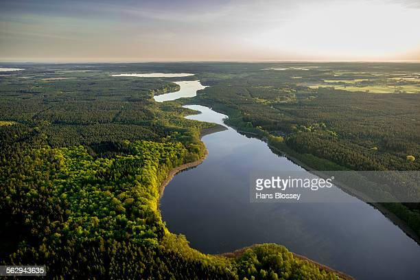 Aerial view, Granzower Moschen Lake or Granzower See Lake, Kleiner Kotzower See Lake and Grosser Kotzower See Lake, Mossel Lake, Rechlin, Mecklenburg Lake District, Mecklenburg-Western Pomerania, Germany