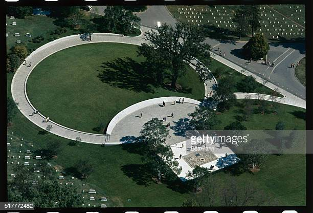 Aerial view grave of John F Kennedy September 25th with the landscaping completed