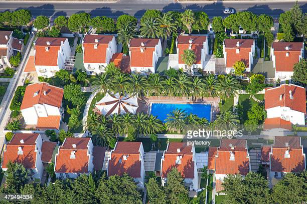 aerial view group of houses with pool