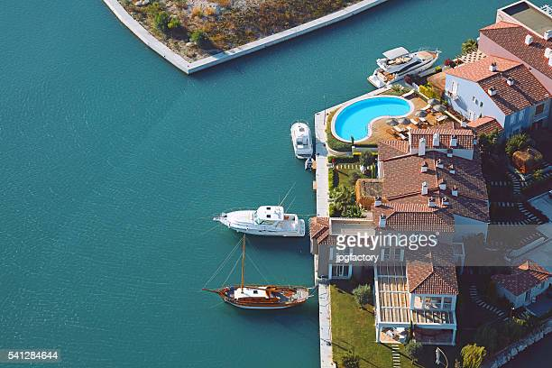 aerial view group of luxury houses