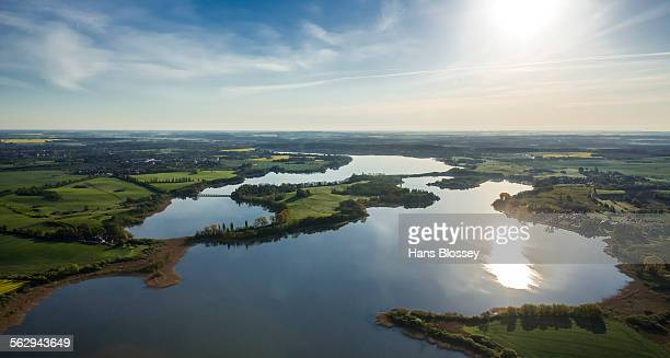 Aerial view, Gutower Moor and Schoninsel island near Gustrow, Gutow, Mecklenburg Lake District, Mecklenburg-Western Pomerania, Germany