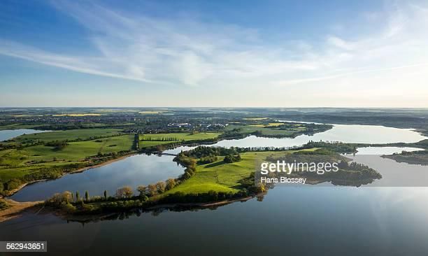 Aerial view, Gutower Moor and Schoninsel island near Gustrow, Muhl Rosin, Mecklenburg Lake District, Mecklenburg-Western Pomerania, Germany