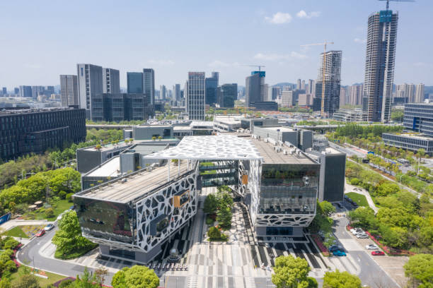 aerial view headquarter building of Alibaba Group in Hangzhou