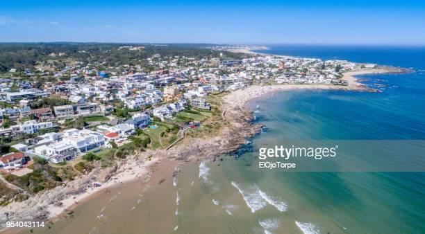 aerial view, high angle view of la barra beach, punta del este city, uruguay - maldonado uruguay stock pictures, royalty-free photos & images