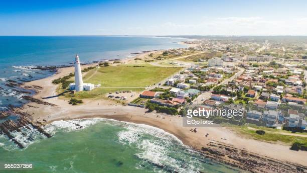 aerial view, high angle view of la paloma's lighthouse, uruguay - uruguay stock-fotos und bilder