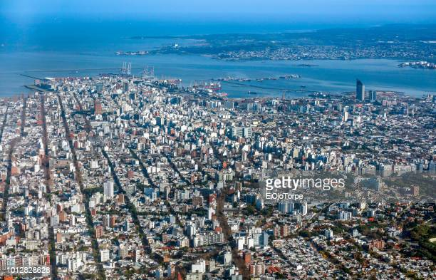 aerial view, high angle view of montevideo city, uruguay - montevideo stock pictures, royalty-free photos & images