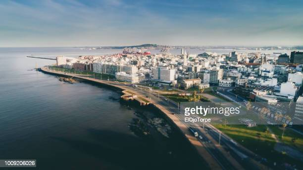 aerial view, high angle view of montevideo's coastline, ciudad vieja neighbourhood, uruguay - montevideo stock pictures, royalty-free photos & images