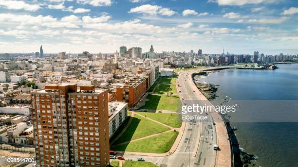 aerial view, high angle view of montevideo's coastline, drone point of view, ciudad vieja neighbourhood, uruguay - montevideo stock pictures, royalty-free photos & images