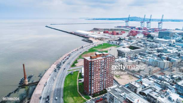 aerial view, high angle view of montevideo's coastline - montevideo stock pictures, royalty-free photos & images