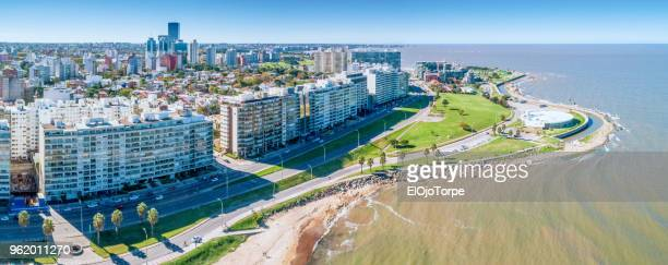 aerial view, high angle view of montevideo's coastline, pocitos and kibon neighbourhood - montevideo stock pictures, royalty-free photos & images