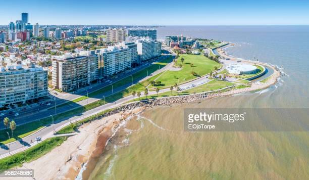 aerial view, high angle view of montevideo's coastline, pocitos neighbourhood - montevideo stock pictures, royalty-free photos & images