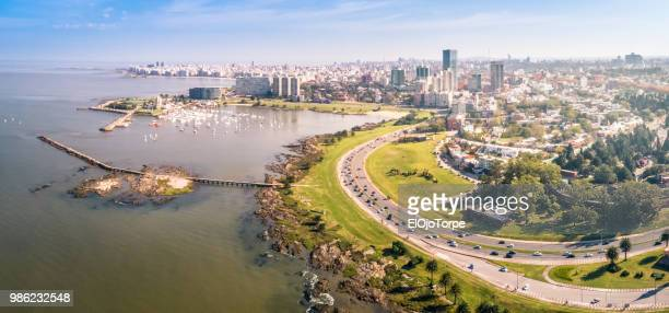 aerial view, high angle view of montevideo's coastline, puertito del buceo, pocitos neighbourhood, uruguay - montevideo stock pictures, royalty-free photos & images