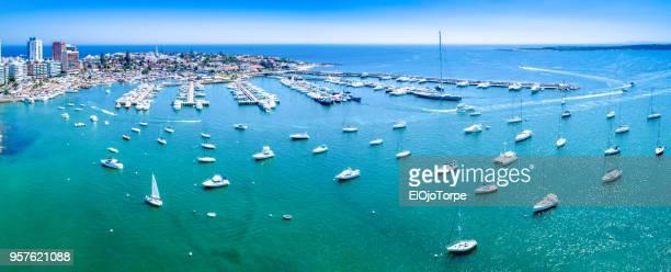 aerial view, high angle view of punta del este's harbor, uruguay - maldonado uruguay stock pictures, royalty-free photos & images
