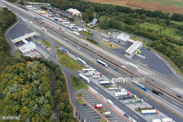 Aerial view highway A3 and rest area Medenbach