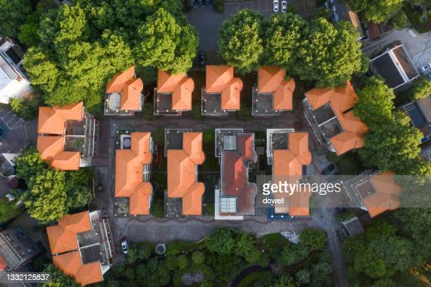 aerial view house with tree around - hubei province stock pictures, royalty-free photos & images
