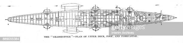Aerial view illustration showing an aerial diagram of the upper deck poop and forecastle of the British Royal Navy's torpedo gunboats of the...