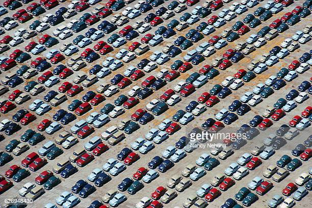 aerial view imported cars port of los angeles 1964 - vehicle brand names stock photos and pictures